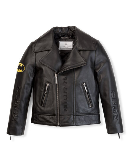 leather jacket plein hero batman