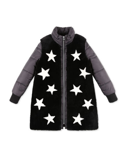 Long Leather Bomber Stars