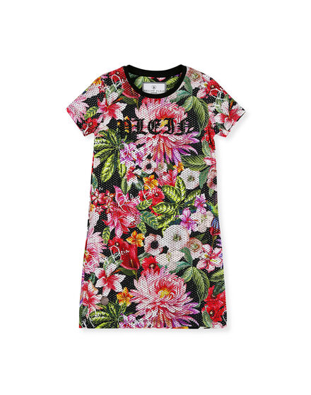 T-Shirt Short Dresses Flowers