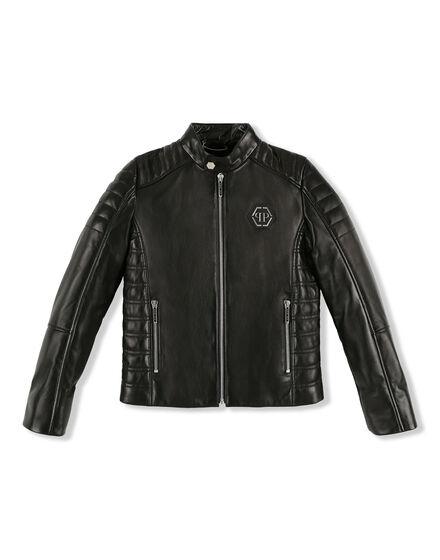 Leather Moto Jacket Gothic Plein