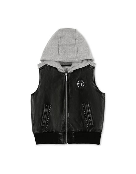 Leather Vest Short Gothic Plein