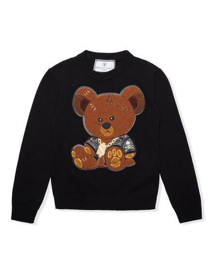 Pullover Round Neck LS Teddy and Skull