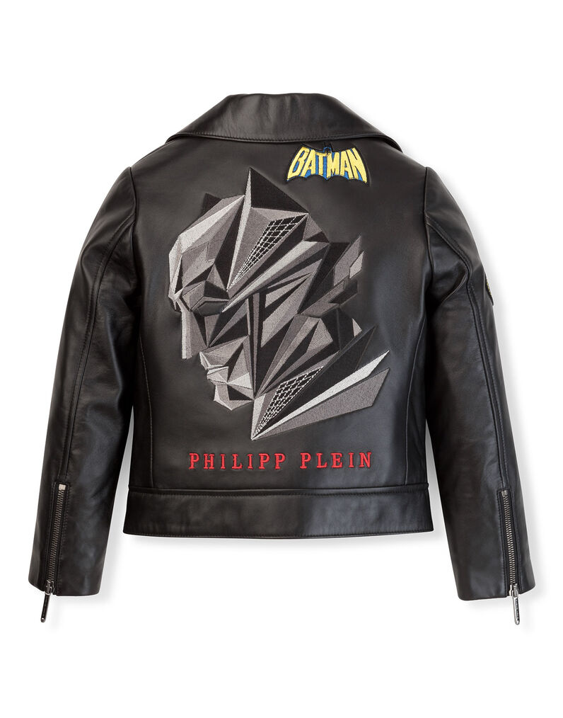 "leather jacket ""plein hero batman"""