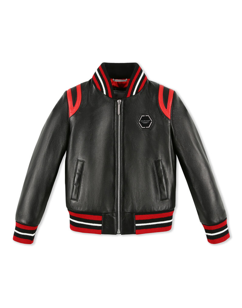 Leather Bomber Space Plein