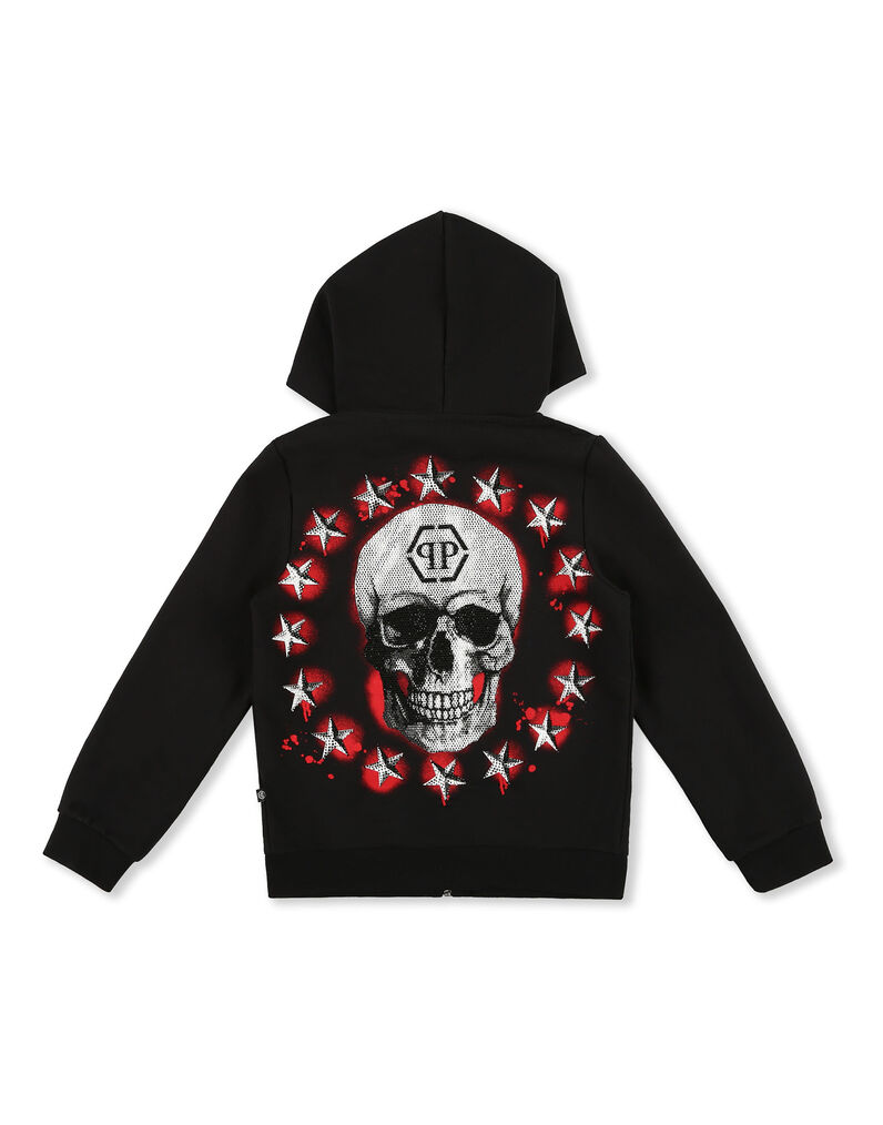 Hoodie Sweatjacket Stars and skull